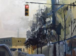 "East on Monroe, 36""x48"" acrylic on canvas"