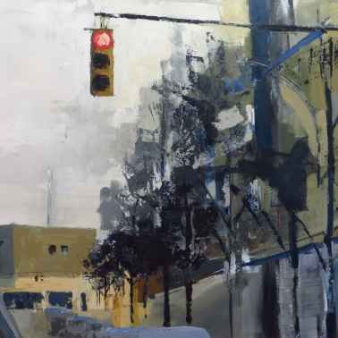 "East on Monroe, 36""x48"" acrylic on canvas"