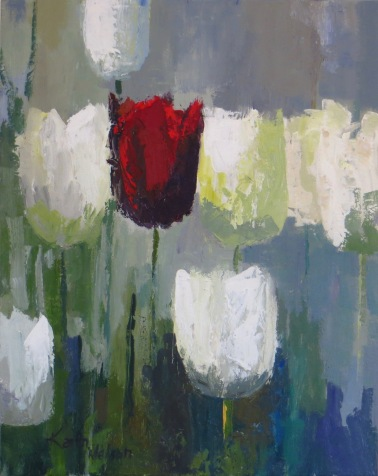 """Red Tulip, 24""""x18"""" acrylic on canvas."""