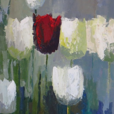 "Red Tulip, 24""x18"" acrylic on canvas."