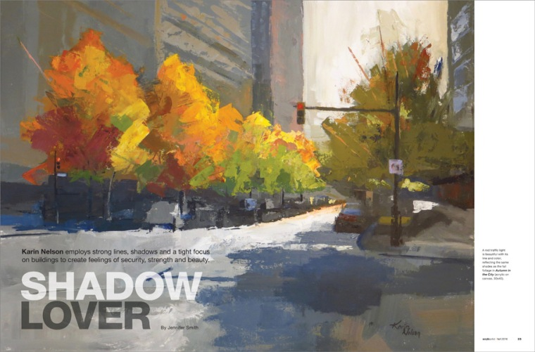 """The opening spread to my feature in Acrylic Artist Magazine, Fall 2016 Issue: """"Autumn in the City."""""""