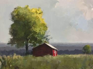 """Red Shed and Tree - 36""""x48"""" - just sold."""