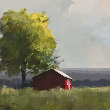 "Red Shed and Tree - 36""x48"" - available."