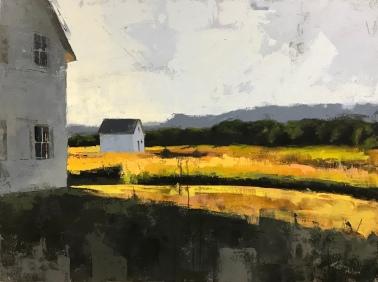 """""""Angled Sun, Port Oneida"""" - a 36""""x48"""" acrylic on canvas. Available."""