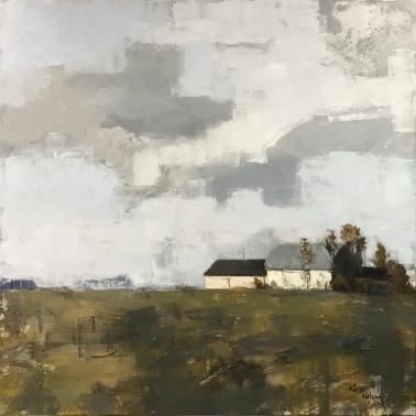 """Barns on Byron Road, 40"""" x 40"""" acrylic on canvas. Available."""