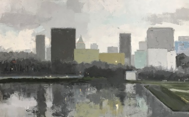 """View From Lake Shore, 30"""" x 48"""" acrylic on canvas. Available."""