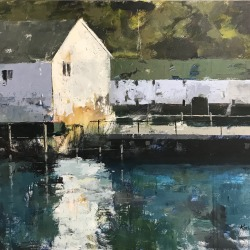 "Mackinac Island Dock, 30"" x 40"" acrylic on canvas. Available."