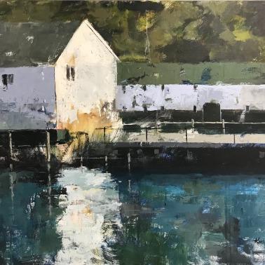 "Mackinac Island Dock, 30"" x 40"" acrylic on canvas. Just sold."