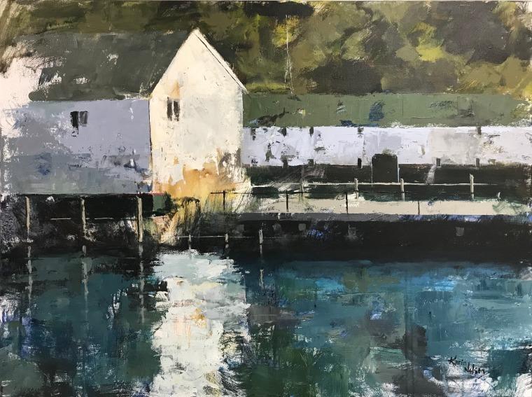"""Mackinac Island Pier, 30"""" x 40"""" acrylic on canvas. Available."""