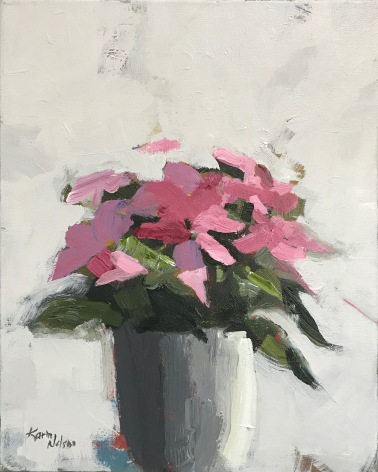 "Pink Poinsettia, 20"" x 16"" acrylic on canvas. Available."