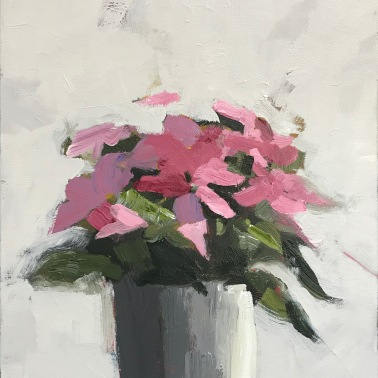 "Pink Poinsettia, 20"" x 16"" acrylic on canvas. Available."