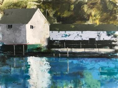 "Mackinac Island Dock 2, 30"" x 40"" acrylic on canvas. Just sold."