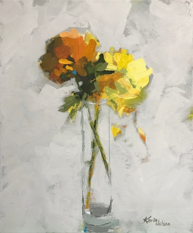 """Orange and Yellow Mums, 24"""" x 20"""" acrylic on canvas. Available at Twisted Fish Gallery."""