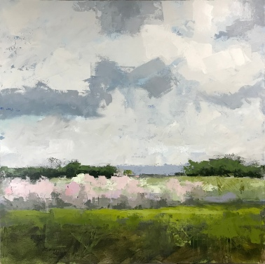 """In Bloom, 48"""" x 48"""" acrylic on canvas. Available at Mackinac's Little Gallery."""