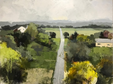 """Over the Hill, 36"""" x 48"""" acrylic on canvas. Available at LaFontsee Galleries."""