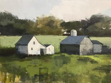 """Port Oneida Farm, 36"""" x 48"""" acrylic on canvas. Available."""