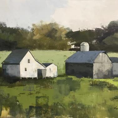 "Port Oneida Farm, 36"" x 48"", acrylic on canvas. Available at Twisted Fish Gallery."