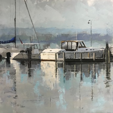 "Peaceful Mooring, 36"" x 36"" acrylic on canvas. Sold."