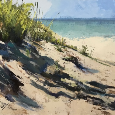 "Dunes and Lake, 36"" x 48"" acrylic on canvas. Available at Mackinac's Little Gallery."