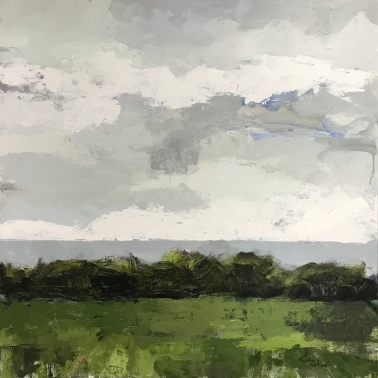 "Field and Sky 6, 40"" x 40"" acrylic on canvas. Available for purchase through Somebody's Gallery in Petoskey, MI."