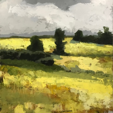 """Yellow Fields 2, 60"""" x 48"""" acrylic on canvas. Available at LaFontsee Galleries"""