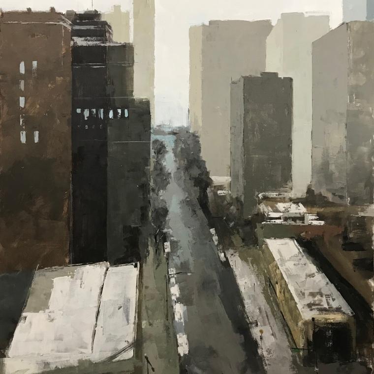 "Aerial Chicago, 60""x48"" acrylic"