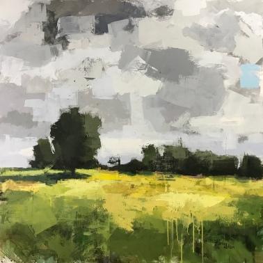 """Yellow Fields 5, 40""""x40"""" acrylic"""