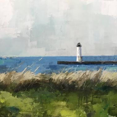 Manistee Lighthouse, 30 x 40 acrylic on canvas. Available.