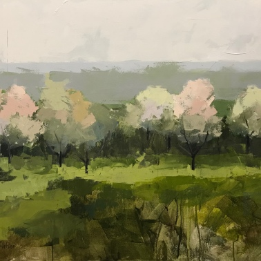 """Meet You in the Orchard - 36"""" x 48"""" acrylic on canvas. Available."""